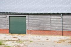 Little barn with solar energy stock photos