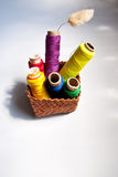 A little basket of colorful sewing threads Royalty Free Stock Images