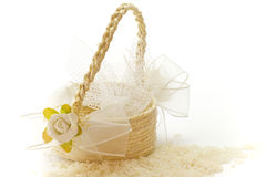 Little basket of rice for wedding Royalty Free Stock Photo