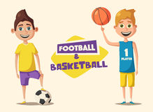 Little basketball and football players. Cartoon vector illustration Royalty Free Stock Photography