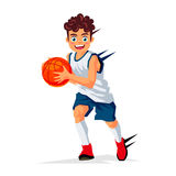 Little basketball player with the ball. Vector illustration on white background. Sports concept royalty free illustration