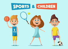 Little basketball, tennis and football players. Cartoon vector illustration Royalty Free Stock Photos