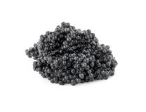 Little batch of black caviar. Macro photo isolated on white back Royalty Free Stock Photo
