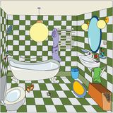Little bathroom. Cartoon sketch of a bathroom Stock Photo