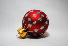 Little Baubles 4. One little red and silver  Christmas baubles Royalty Free Stock Photo