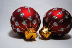 Little Baubles 3. Two little red and silver  Christmas baubles Royalty Free Stock Image