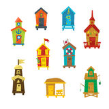 Little Beach Cabins Cute Set Stock Images