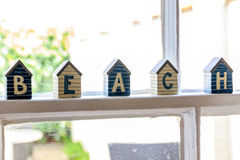 Little Beach Hut Wooden Ornaments Stock Photos