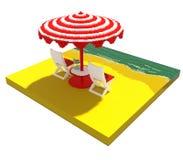 Little beach landscape - 3d voxel art Stock Photos