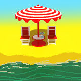 Little beach landscape - 3d voxel art Stock Photo