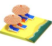Little beach landscape - 3d voxel art Stock Image