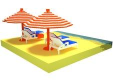 Little beach landscape - 3d voxel art Stock Images