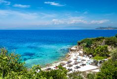 Little beach with marble. In Limenas Thasou, capital and main port of Thassos island,  Greece stock photo