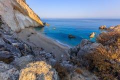 Little beach near Agios Nikitas. Lefkada, Greece. View from Cape Nikita to little beach. Agios Nikitas. Lefkada, Greece Stock Images