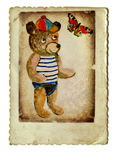 Little bear. With the butterfly - retro and vinatge picture Royalty Free Stock Images