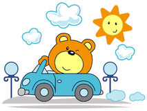 Little Bear. Vector illustration of a little bear driving in a sunny day stock illustration