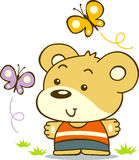 Little Bear. Vector of a little bear together with butterfly friends stock illustration
