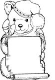 Little Bear. Black and white illustration of a plush doll bear have sheet with a hat Stock Photo