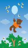 Little bear with balloon and bees Stock Images