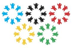 Little Bear. Bear cubs in the color of the Olympic rings. Vector format Stock Photos