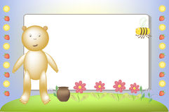 Little bear and a bee on a meadow. Horizontal frame royalty free illustration