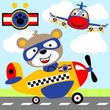 Bear on a plane vector illustration