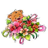 Little bear with a bouquet of beautiful flowers. Funny bear with a bouquet of beautiful flowers Royalty Free Stock Images