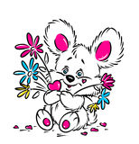 Little Bear and a bouquet of flowers valentine card Stock Image