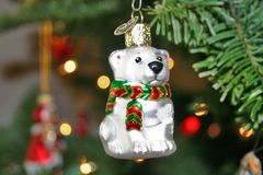 Little Bear on Christmas Tree. Little Bear Ornament on Christmas Tree Royalty Free Stock Photos