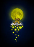 Little bear flies on a magical book with a falling stars illuminated by the moonlight. Bedtime story Royalty Free Stock Images