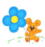 Little bear and flower card Stock Images