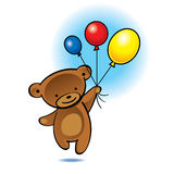 Little bear flying with color balloons Stock Photos