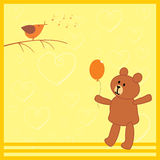 Little bear and his bird friend. Card with little bear and his bird friend Stock Photo