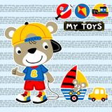 Little bear with his toys vector illustration