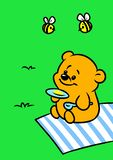 Little bear honey bee picnic breakfast nature cartoon. Illustration royalty free illustration