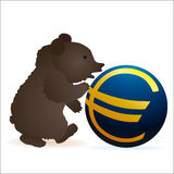 Little bear pushing Euro symbol. Little bear pushing the big Euro symbol Stock Image