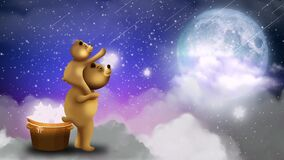 Little bear riding on father`s neck Collect stars in the sky, full moon, night fantasy, night sky, loop animation background.