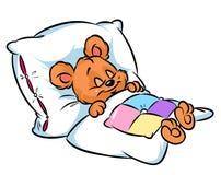 Little Bear sleeping cartoon illustration Stock Image