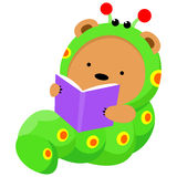 Little bear in worm costume reading a book Royalty Free Stock Images