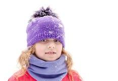 Little beautiful blond girl in winter outwear Stock Photos