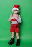 Little beautiful boy with Christmas gnome costume Stock Photography
