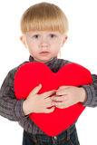 Little beautiful boy holds heart Royalty Free Stock Images