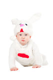 Little beautiful boy in rabbit costume with carrot Royalty Free Stock Image