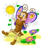 Little beautiful butterfly swings, cartoon Stock Photo