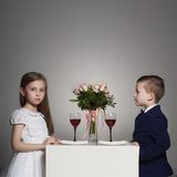 Little beautiful couple on a date. beauty girl and boy together Royalty Free Stock Photos