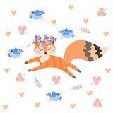 Little beautiful fox with closed eyes jumps among the leaves and hearts isolated on white background in vector royalty free illustration
