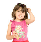 Little beautiful girl. The small beautiful girl  hold in hands solar-glasses, smiles, on a white background.  Profile Adobe RGB (1998 Royalty Free Stock Image