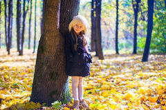 Little beautiful girl on the autumn meadow in a Royalty Free Stock Images