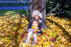 Little beautiful girl on the autumn meadow in a Stock Photos