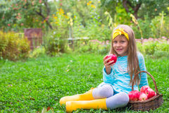 Little beautiful girl with a basket of apples in Stock Photo